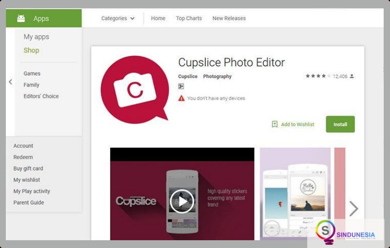 aplikasi edit foto di android Cupslice