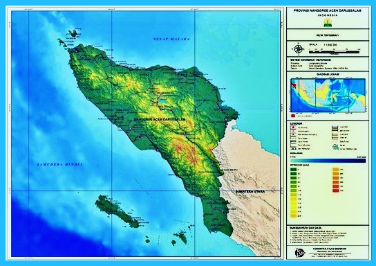 Peta topografi Aceh
