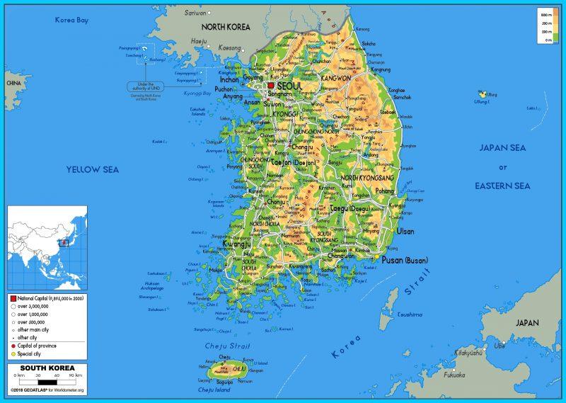 peta korea selatan lengkap