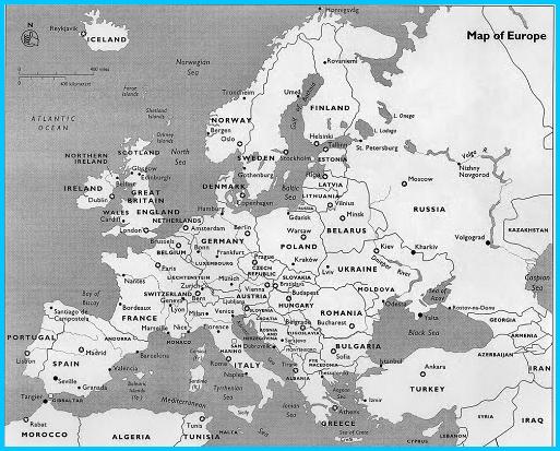 Peta Benua Eropa Hitam Putih