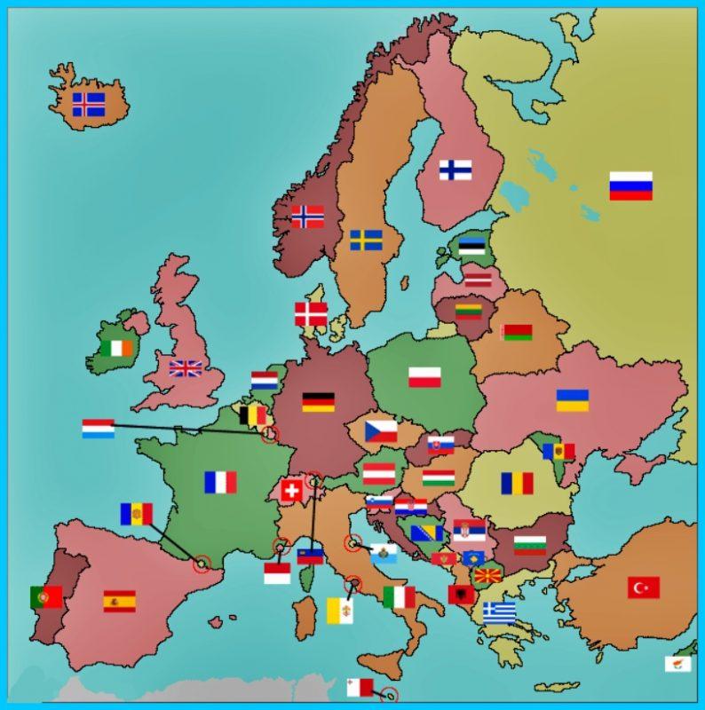 Peta Benua Eropa dan Bendera Negara
