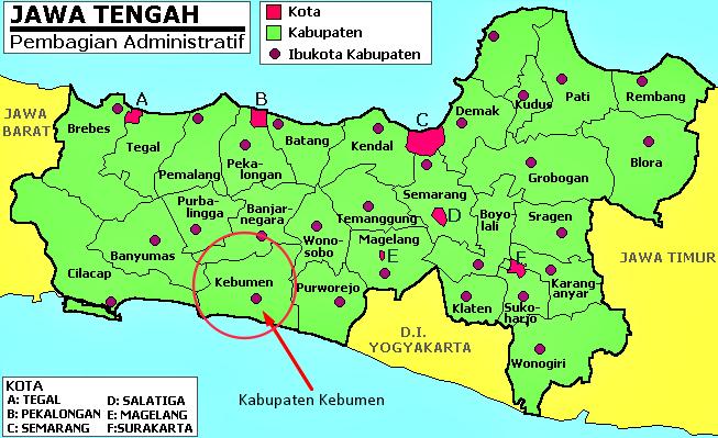 Peta Jawa Tengah Kebumen
