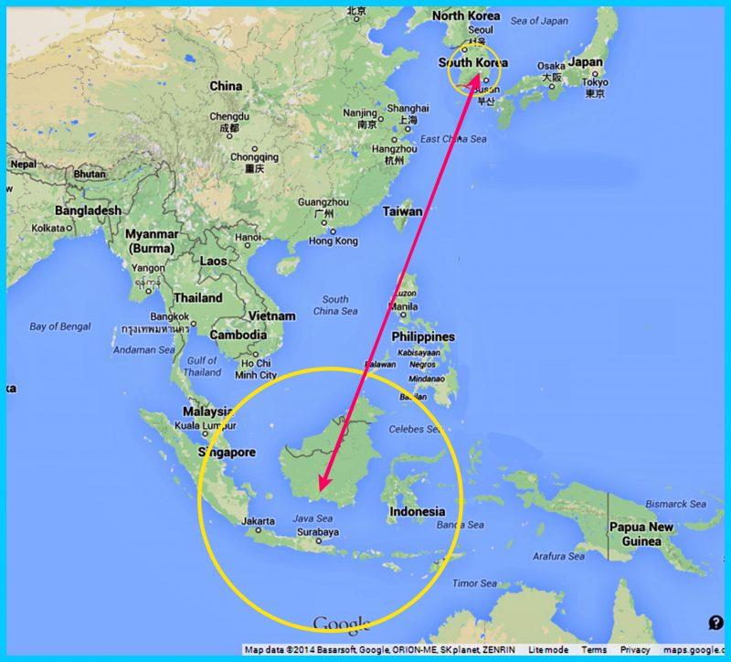 Peta Korea Selatan dan Indonesia