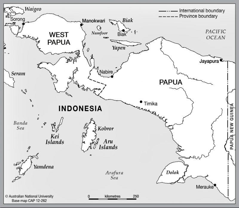 peta papua hitam putih