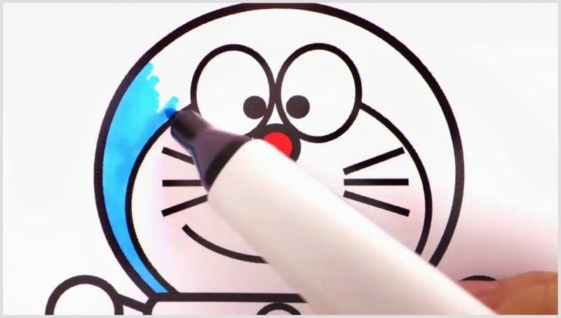Gambar Sketsa Doraemon Keren tersenyum manis