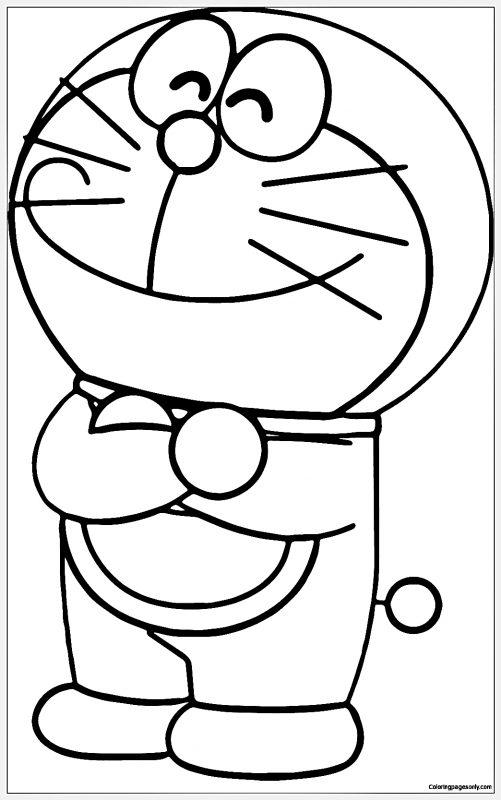 Gambar Sketsa Doraemon tersenyum