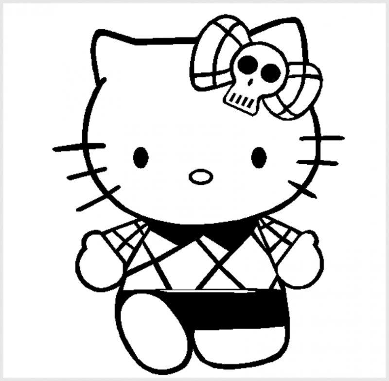 Gambar Sketsa Hello Kitty Hitam Putih