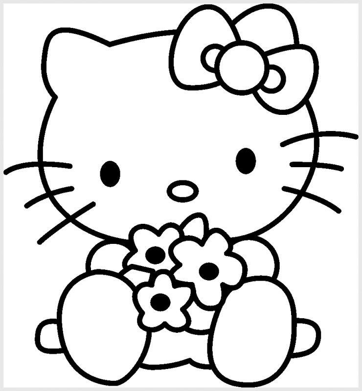 Gambar Sketsa Hello Kitty Lucu dan bunga