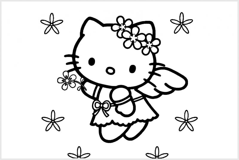 Gambar Sketsa Hello Kitty Lucu