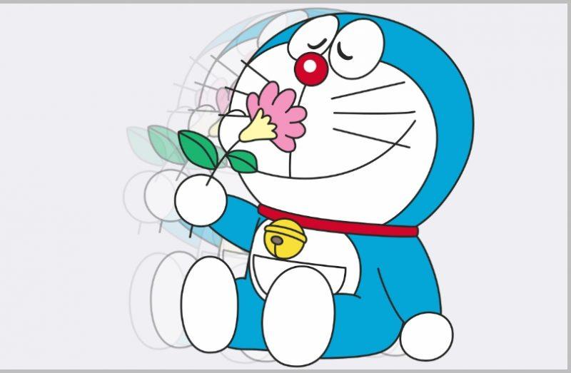 Sketsa Doraemon Berwarna dengan bunga