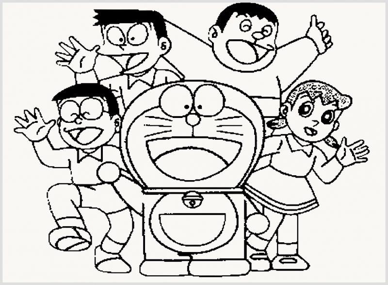 Sketsa Doraemon Dan Kawan-Kawan