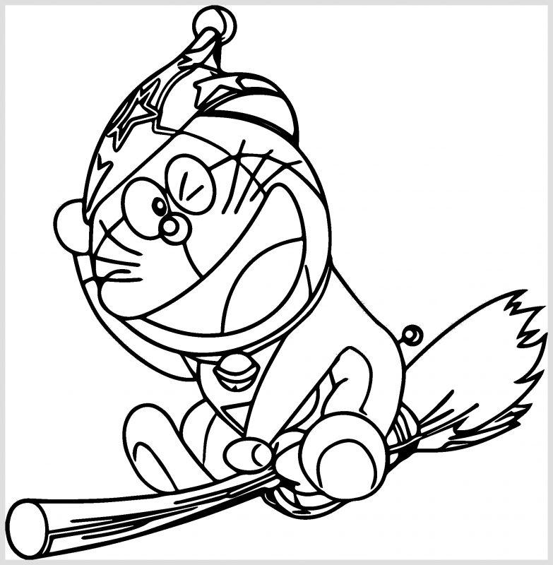 Sketsa Doraemon Hitam Putih naik sapu terbang