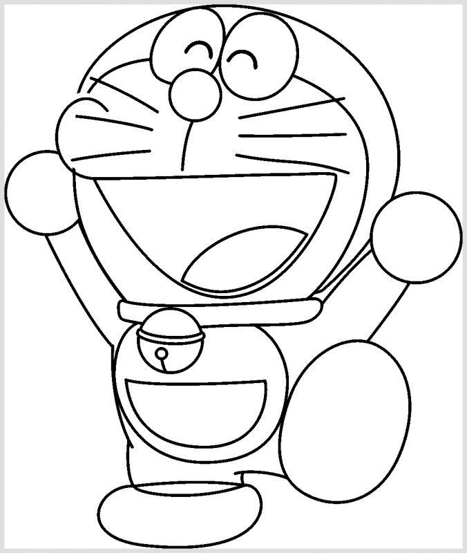 Sketsa Doraemon Hitam Putih tertawa lebar