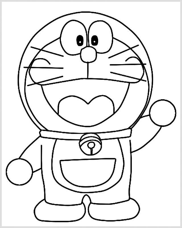 Sketsa Doraemon Lucu melambaikan tangan