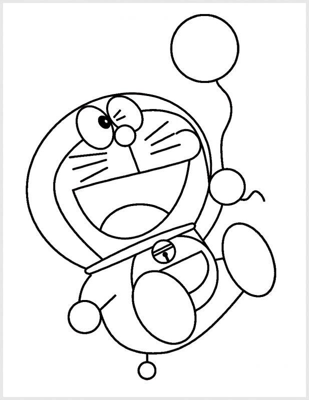 Sketsa Doraemon Memegang Balon