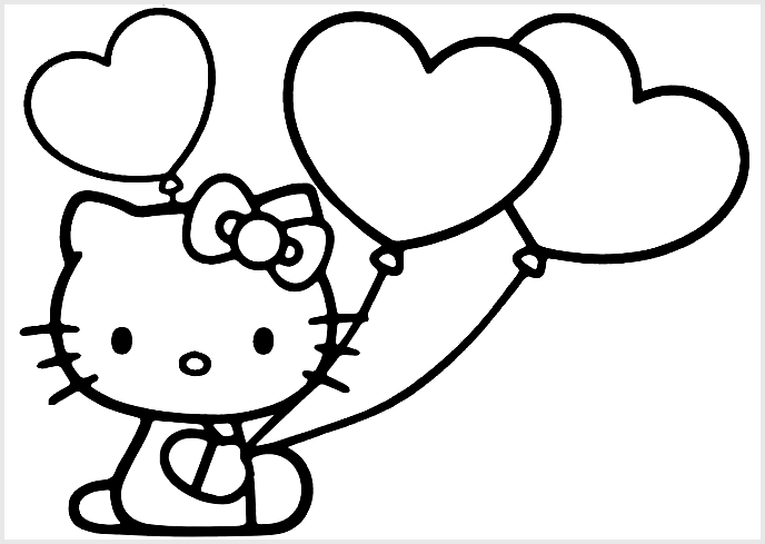 Sketsa Hello Kitty Love