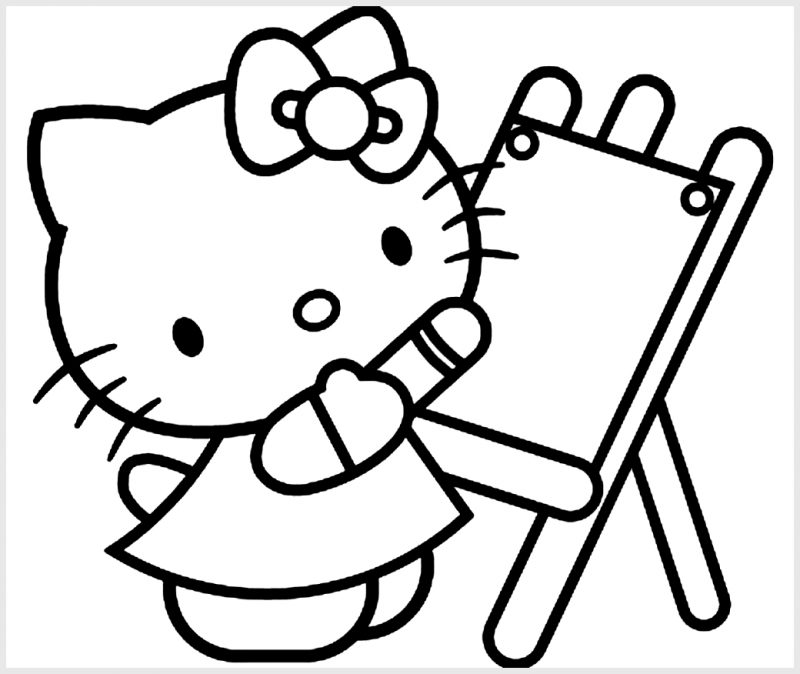 Sketsa Mewarnai Hello Kitty