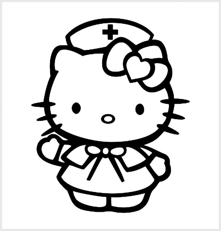 hello kitty bertopi perawat