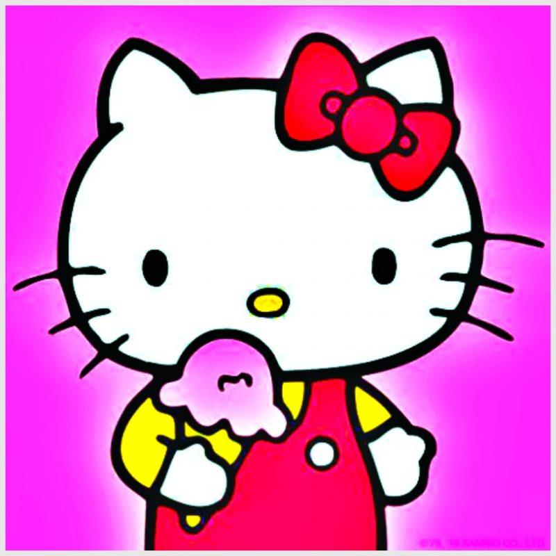 sketsa Hello Kitty dan Es Krim