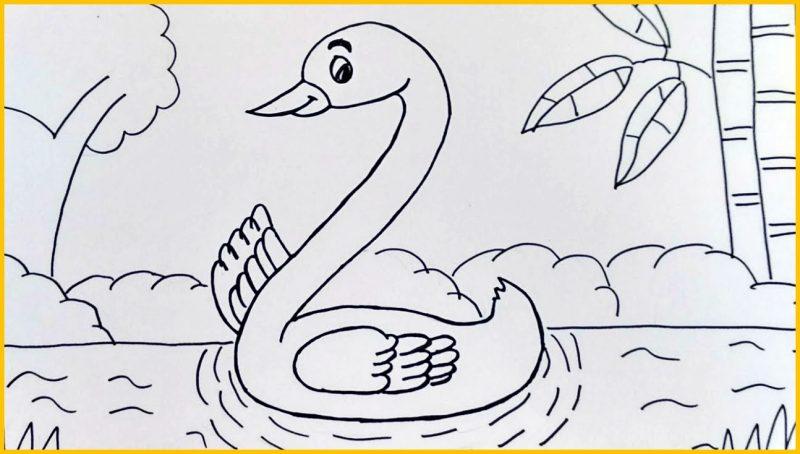 sketsa bebek dan pohon