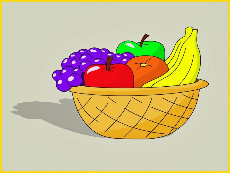 sketsa buah dalam keranjang