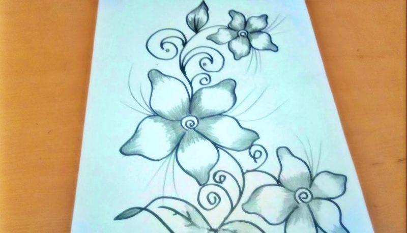 sketsa gambar bunga cantik