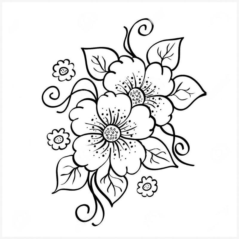 sketsa gambar bunga hitam putih