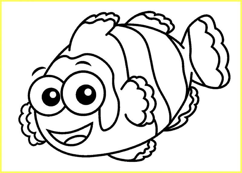 sketsa gambar ikan nemo tampak samping