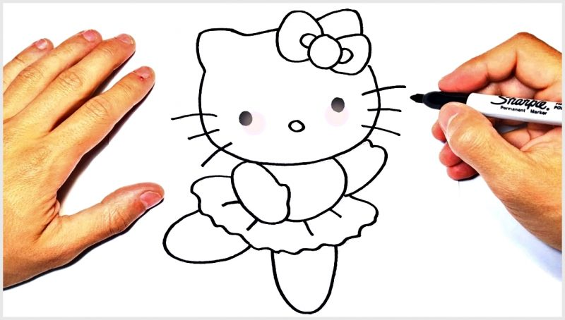 sketsa hello kitty