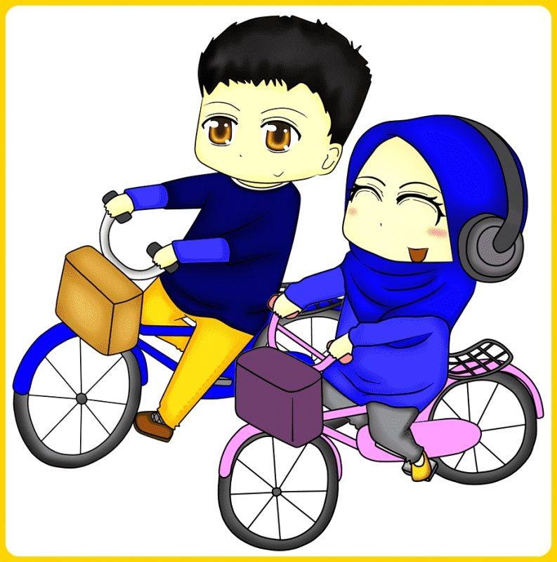 Cowok dan Cewek Muslim Bersepeda Bersama