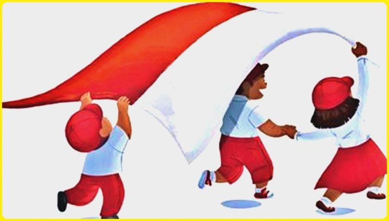 Gambar Anak Sekolah Kartun SD melambaikan bendera merah putih