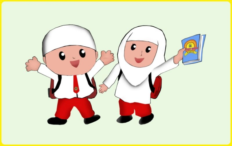 Gambar Sepasang Anak SD Kartun