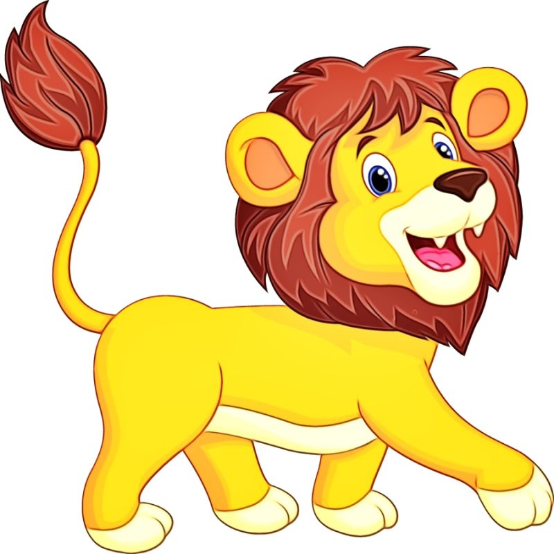Gambar Singa kartun Berjalan sambil Membuka Mulutnya