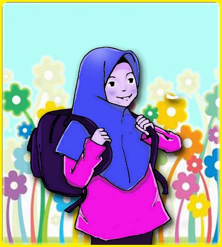 Ilustrasi Siswi Muslimah Menenteng Tas Ransel