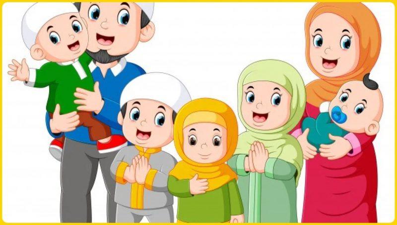 anak muslim bersama keluarga