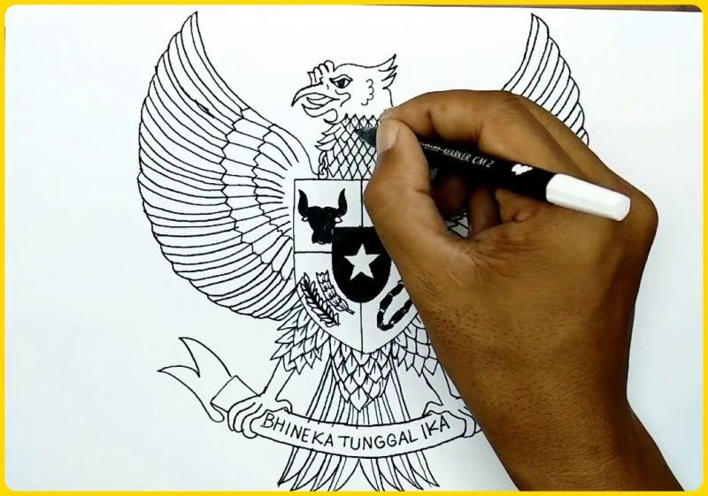 cara menggambar sketsa burung garuda