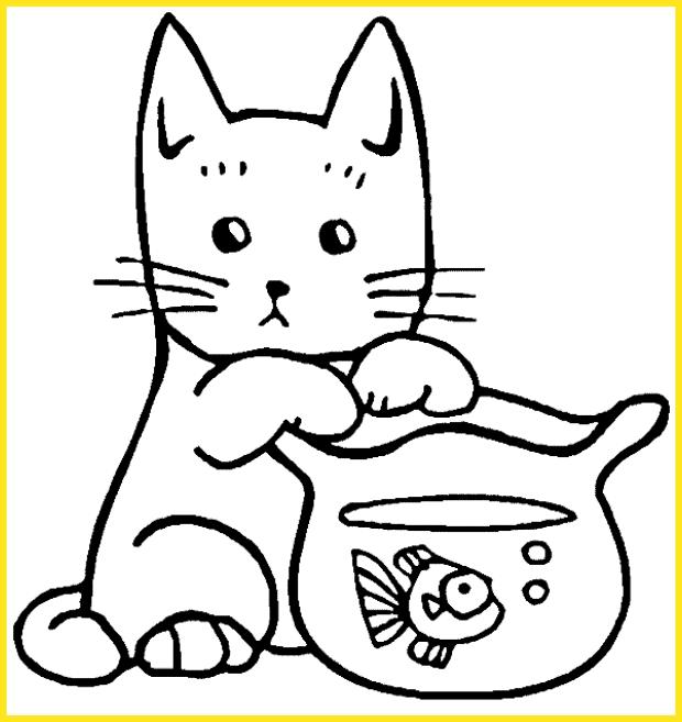 contoh gambar sketsa kucing dan ikan