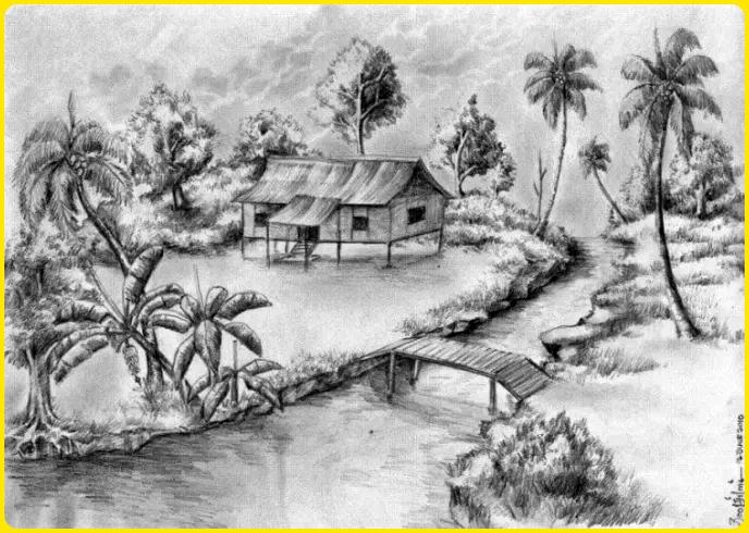 contoh sketsa gambar pemandangan 2 dimensi