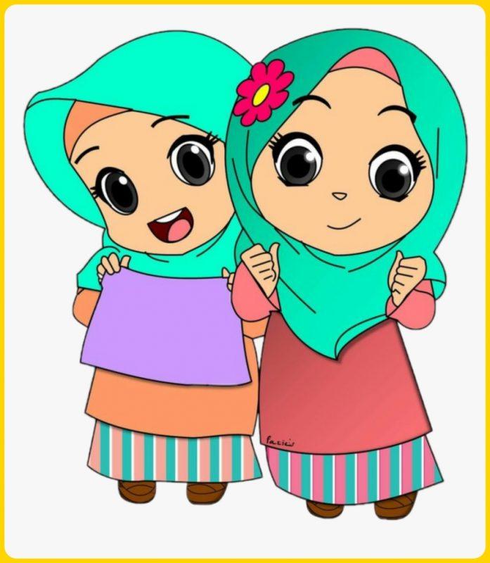 dua anak muslim berkerudung biru
