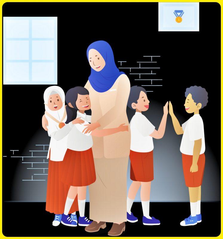 gambar anak sekolah kartun bersama guru