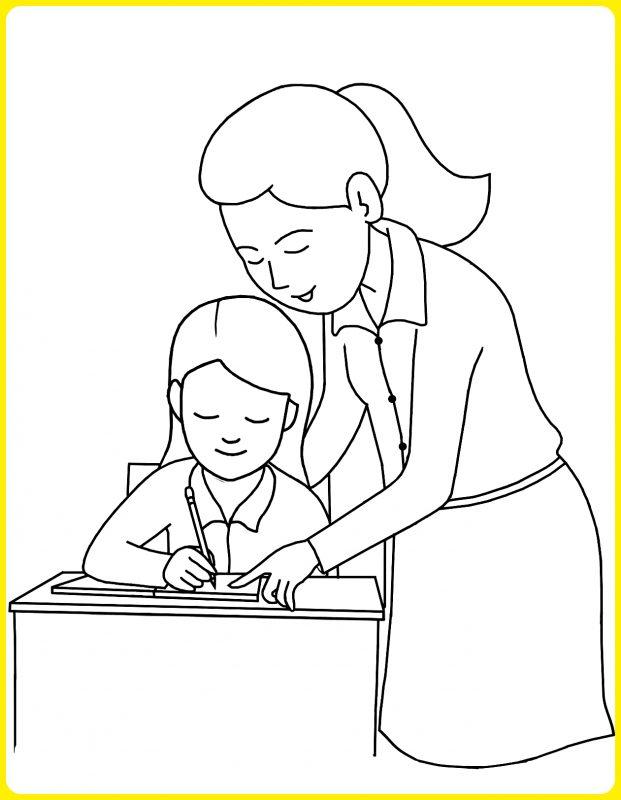 gambar anak sekolah kartun hitam putih dibimbing oleh guru