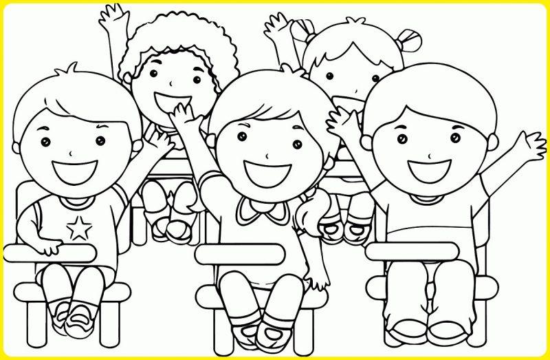 gambar anak sekolah kartun hitam putih