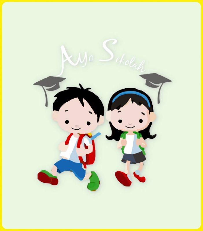 gambar anak sekolah kartun lucu