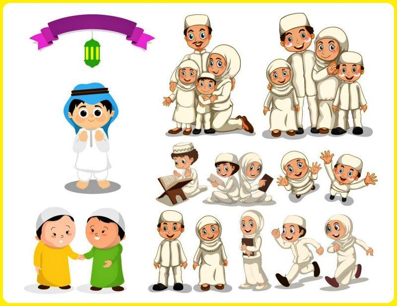 gambar anak sekolah kartun muslim