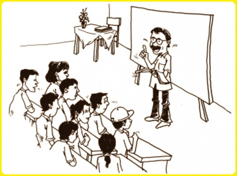 gambar anak sekolah kartun serius memperhatikan guru