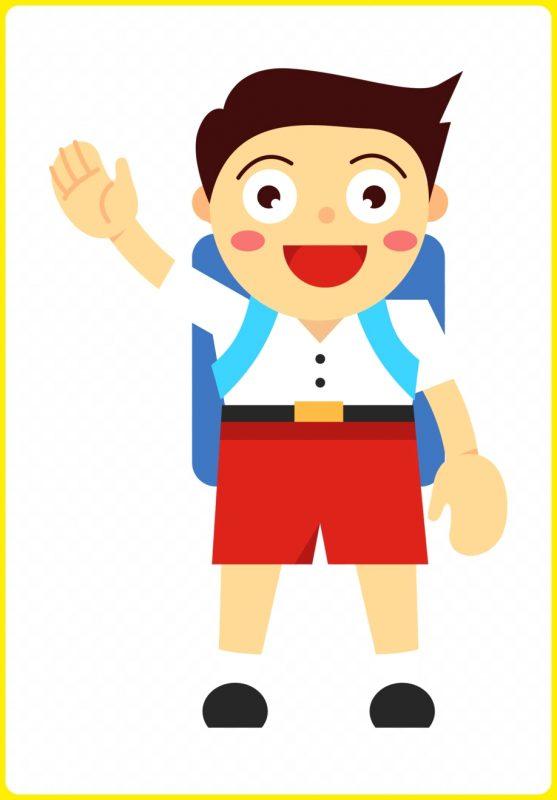 gambar anak sekolah melambaikan tangan