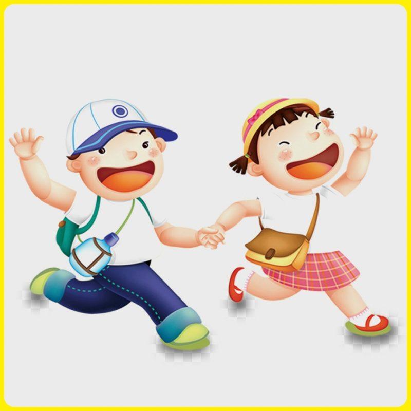 gambar anak sekolah sd kartun berjalan dengan riang