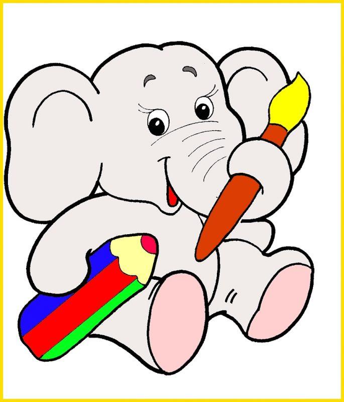 gambar gajah di buku gambar