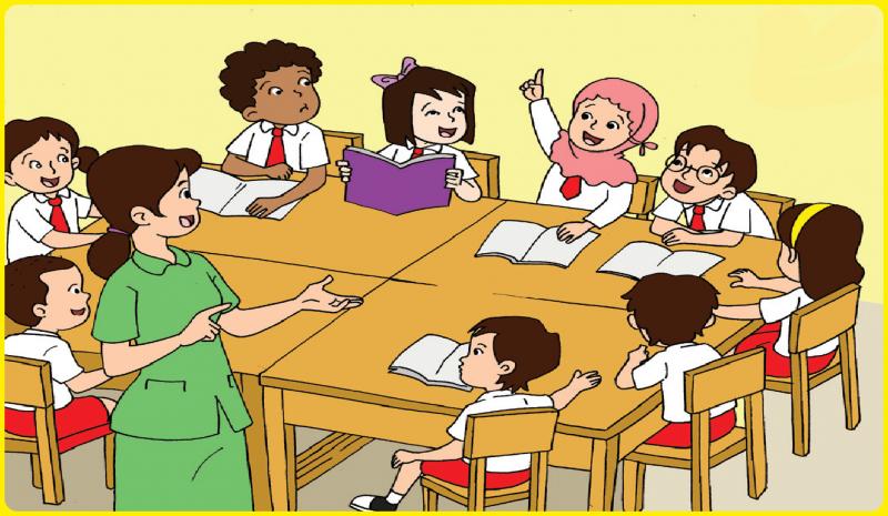 gambar kartun anak sekolah di kelas png