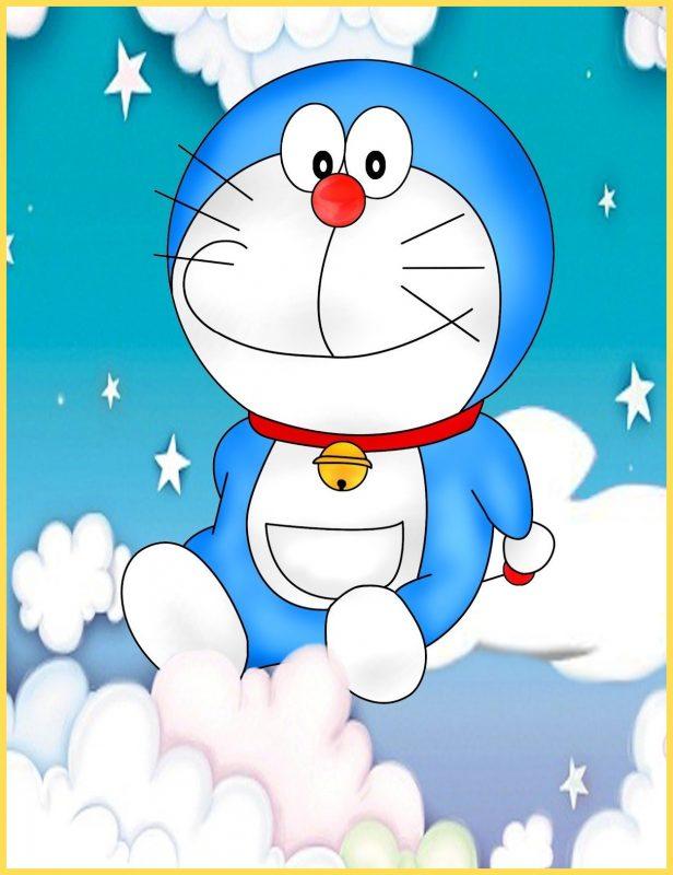 gambar kartun doraemon lucu di awan